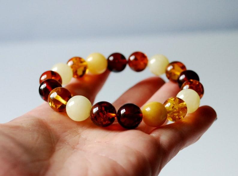 Multicolored amber bracelet Amber beaded bracelet 11,8 mm amber beads Multicolor genuine Baltic amber bracelet Women amber jewelry