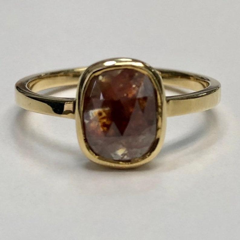 c25fec20c77a1 Red salt & pepper diamond ring, red rose cut diamond ring, modern  engagement ring, unique statement ring, self love ring, anti engagement