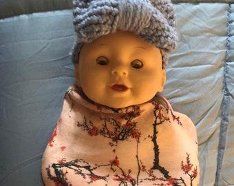 Hand crocheted oversized bow headband for baby girl