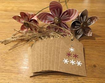 Christmas snowflake tree gift tags set of 10