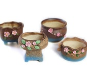MZ Gardens Decorative Unglazed Ceramic Succulent Flower Pots Planter Container 4 in 1 Set with Free Drainage Screen