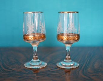 Vintage Sherry/Port glasses (pair of) – Gold and frosted detail – 1950s/60s – Retro barware