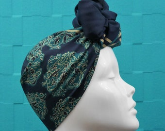 b73d3998ea5 Vintage Large Square Scarf for Head Hair Wrap Turban Neckerchief Bow Shawl  Accessory -Navy Blue Background White Teal Jacobean Design