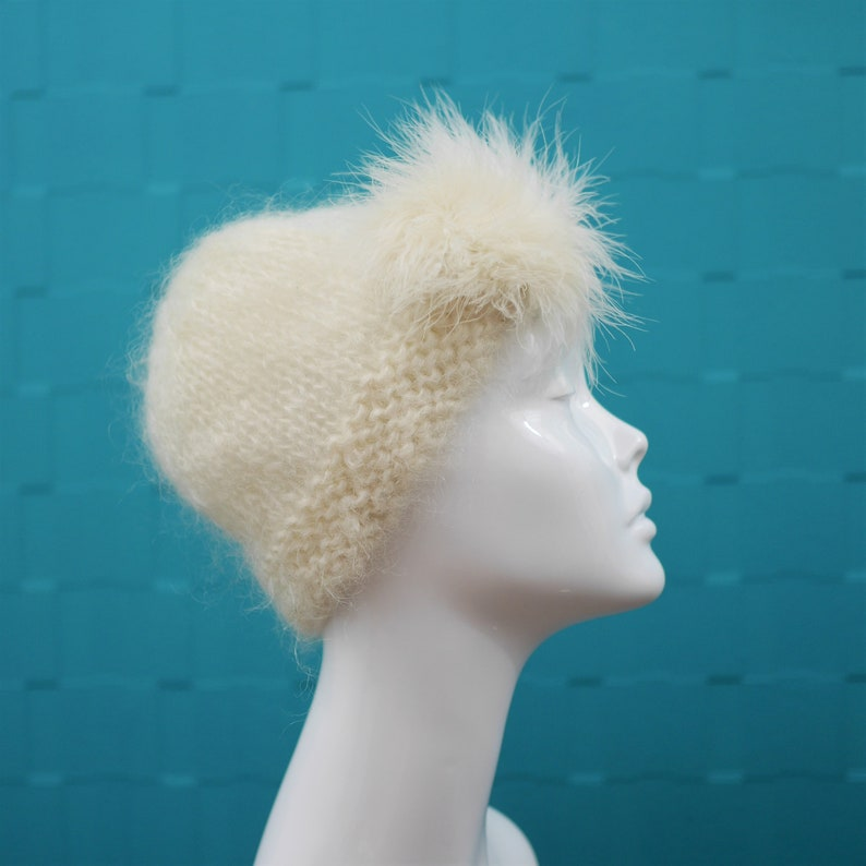 Made in England Marabou Trim Feather Detail Vintage 1970s CreamWhite MohairWool Hat by Lolita Sena Christmas Beanie Wooly Hat