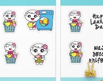 Roxie Laundry Basket Stickers Planner Stickers - Functional Stickers - Washing Machine Stickers Laundry Stickers - Happy Laundry Day