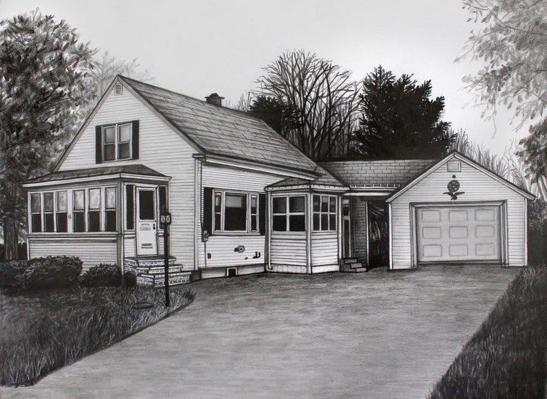 Custom House Portrait dessin daprès Photo crayon maison | Etsy