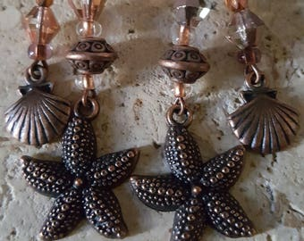 Brass Starfish with Copper and Peach beads