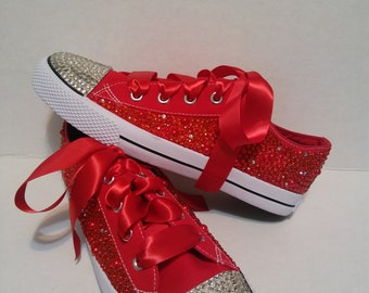 f9865f256a40 Adult Red Bling Crystal Converse