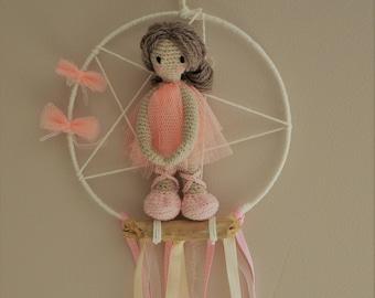 Doll crochet dream catcher dream ballerina doll Driftwood prima ballerina dancer opera