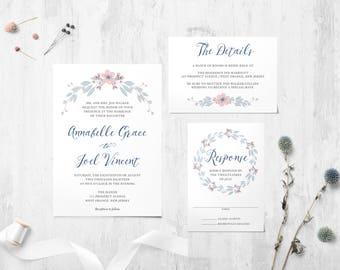 Pink & Blue Floral Wedding Invitation | Printable