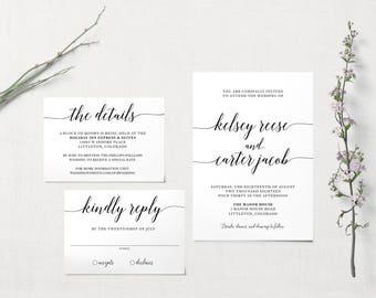 Classic Black & White Wedding Invitation | Printable