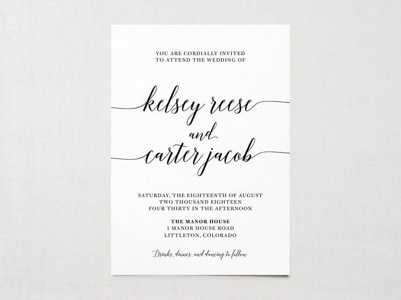 Printable Classic Black /& White Wedding Invitation