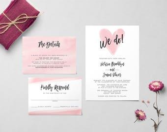 Watercolor Heart Wedding Invitation | Printable