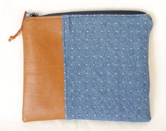 Upcycled Denim and Faux Leather Accessories Pouch | Upcycled, Makeup Bag, Bag, Pencil Case