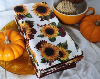 Autumn Sunflower Cloth Napkins   Reusable, Sustainable Goods for Low Waste Living