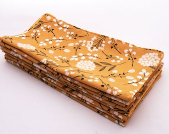 Cloth Napkins - Golden Yellow Floral   Snack Size, Double Sided 2 ply