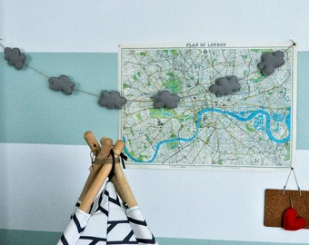 Gray Clouds Garland | Nursery, Nursery Bunting, Ribbon, Decor, Baby Shower, Bridal Shower, Wedding, Baby Room, Bunting