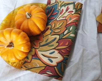 Colorful Autumn Leaves Cloth Napkins   Sustainable, Zero Waste