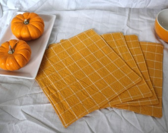 Homespun Cloth Napkins - Yellow Windowpane   Reusable, Sustainable Goods for Low Waste Living