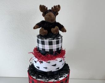 Bear 3 Tier Diaper Cake CAMO  Hunting Fish Moose  Baby Shower Centerpiece