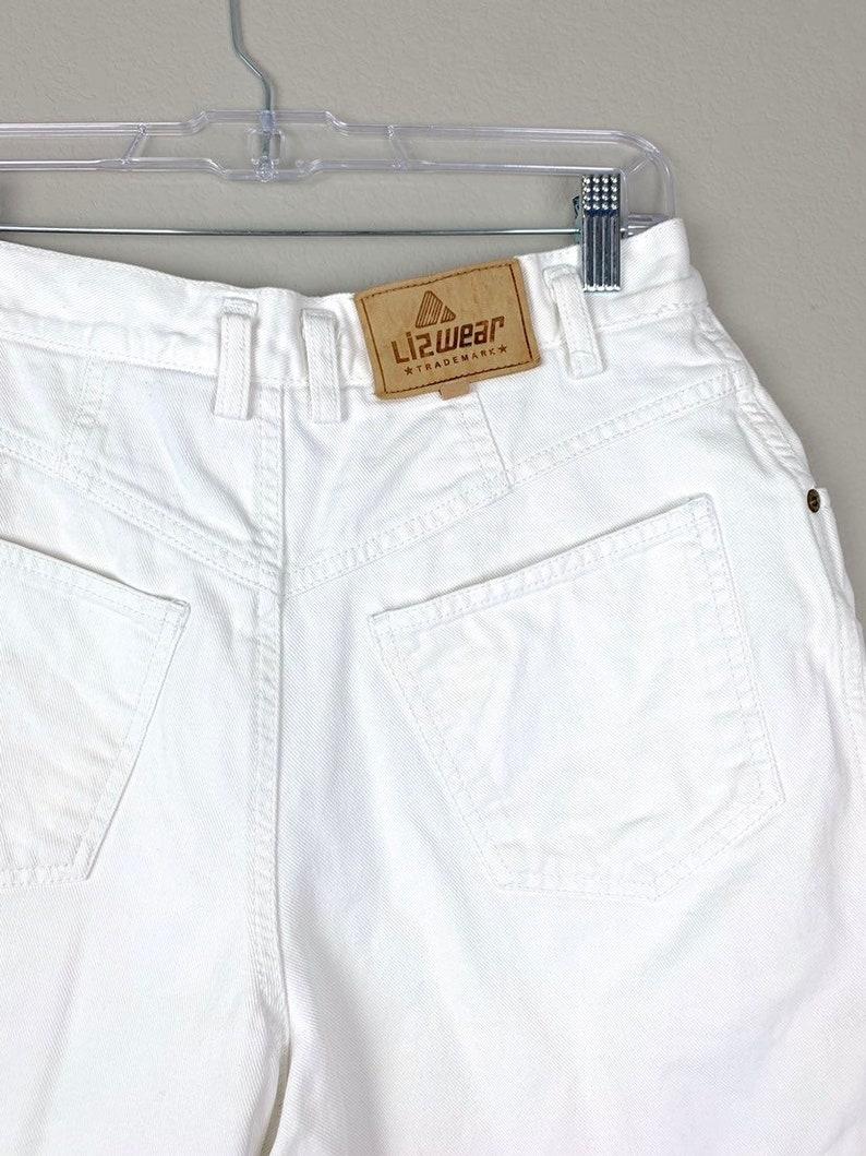 White Mom Jean Shorts From The 90s  High Waisted White Denim Shorts SmallMedium  Stranger Things Costume