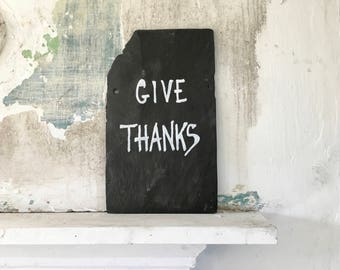 Fall Sign / Give Thanks / Thanksgiving / Slate Wall Art / Seasonal Autumn Home Decor