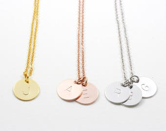 Personalized Disc Necklace | Coin Necklace | Initial Necklace | Monogram Necklace | Bridesmaid Gift | Graduation Gift | Gift for mom