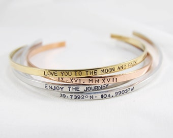 Inspirational Bracelet | Personalized Cuff Bracelet | Stacking Dainty Cuff | Bridesmaid Gift | Graduation Gift | Inspirational Cuff