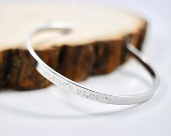 Coordinates cuff bracelet | Inspirational Bracelet | Personalized Bracelet | Adjustable Cuff | Hand Stamped Bangle | Mother's Day Gift