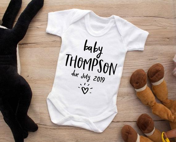 new baby announcement Pregnancy reveal baby grow bodysuit vest Hello Grandude