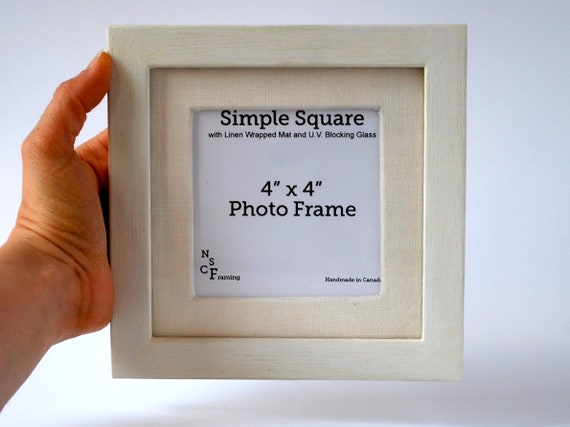 4x4 Photo Frame With Linen Mat Simple Square Picture Frame Etsy