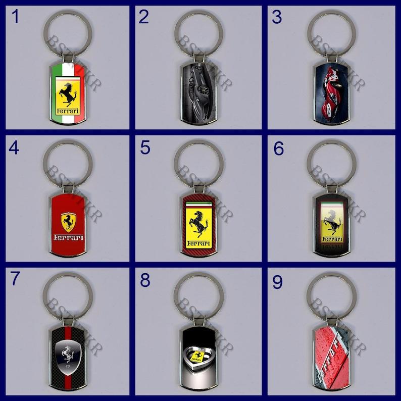 Ferrari car logo emblem metal keychain keyring key ring keyholder key holder