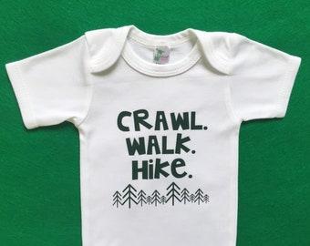 Crawl Walk Hike baby bodysuit outfit