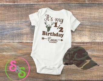 Personalized Half Birthday Boy Onesie Outfit 6 Month Photo Bodysuit Deer