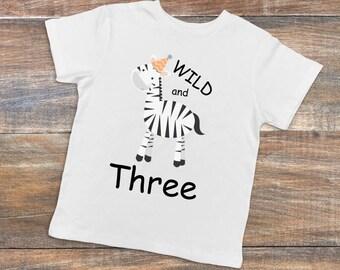Wild and Three Shirt,Zebra Birthday,Zoo Animal Birthday, Zoo Animal Shirt,Zebra Shirt,Zoo Animal T-Shirt,Zebra T-Shirt,Zoo Animal Outfit