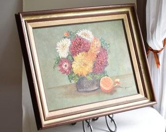 "Framed 18"" Vintage Oil Painting   Floral Still Life Mums & Half-peeled Orange   Gancie '75 (Likely Ruth Gancie; Studio 10 Maryland)   Orange"
