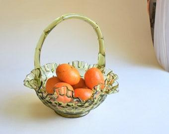 Vintage Fenton Glass Basket Colonial Green Thumbprint Applied Bamboo-style Crimped Handle w/ Ruffled Edge   Fruit Basket   Bathroom Decor