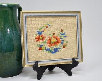 Vintage Framed Embroidery Handiwork   Wall Decor Hanging 70s 80s Floral Pattern   Nursery Decor   Rainbow Colors   Red Blue Green Orange