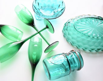 Selection of Vintage Juniper Glass Dishes   Green Teal Blue Aqua Indiana Glass, etc. Mid-Century Glass   Sold Individually