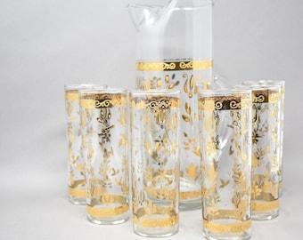 22k Gold Gilded Beverage Set   Pitcher w/ 6 High Ball Glasses   Midcentury Drink Gift Set Holidays   Luxury Barware Tom Collins Briard-Style