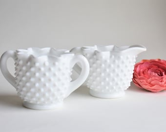 Fenton White Milk Glass Hobnail Sugar & Creamer Set   Vintage Coffee Tea Service