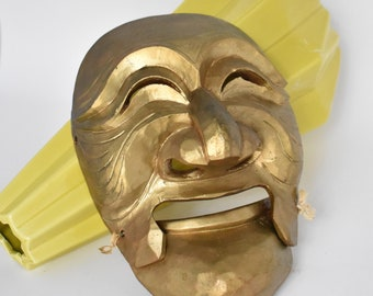 Korean Wood Mask Two Part Hinged Theater   Asian Mask Wall Hanging   Hahoetal Mask   Twine Lashed Movable Mouth Mask   Gold Paint