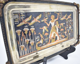 Vintage Egypt Scene Handmade Mixed Metals Tray or Wall Decor   Pre-strung Wall Hanging   Inlaid Metals Ancient Egypt Illustration Rectangle