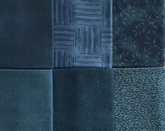 Blue Blender/Tonal Fabric 6 Fat Quarter Bundle