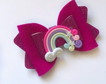 Over the Rainbow Kiarah Bow Handmade Clay Felt Merino Wool Headband