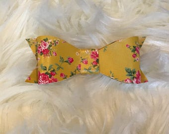 Floral Sunshine Classic Bow - Yellow Faux Leather