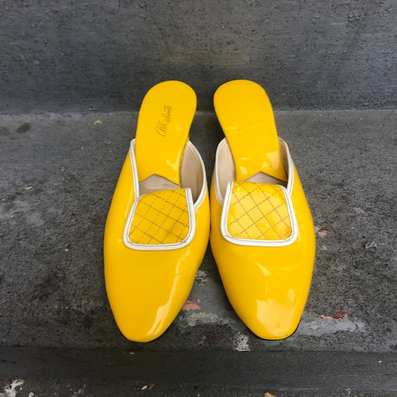 1960's Bright Yellow Super Mod Patent Leather All