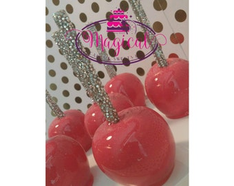 glamorous pink candy apples