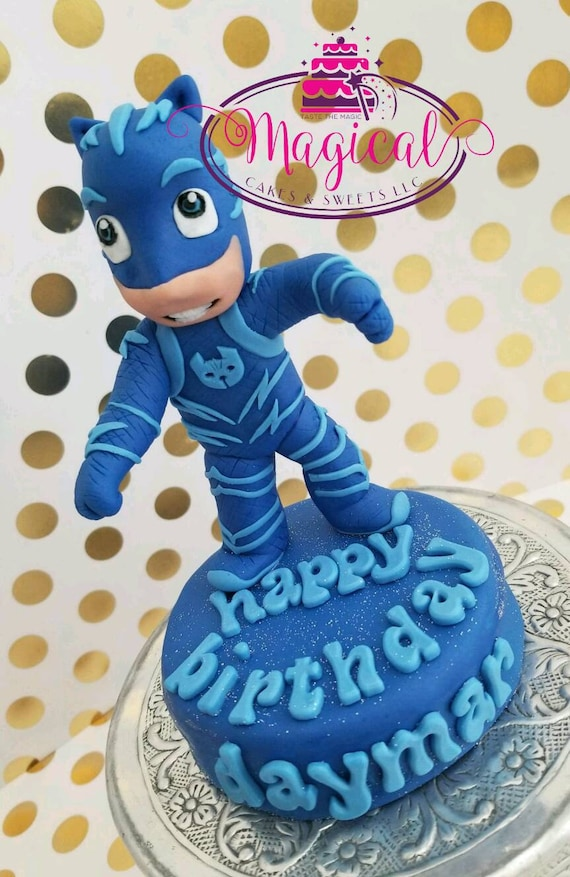 Edible 3D Pj Mask Cat Boy Inspired Cake Topper
