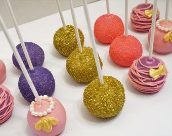 Elegant Chic CAKE POPS,Fondant Cake Pops,Birthday Cake pops, Party Cake pops,